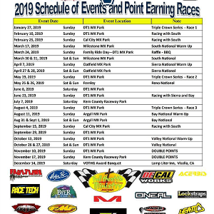 2019 Schedule of Events & Point Earning Races